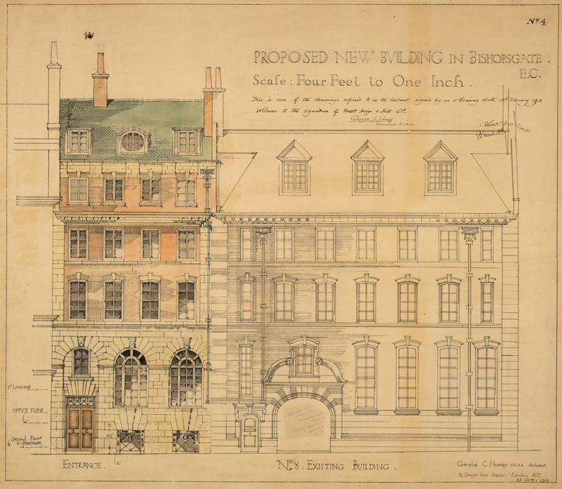 Plan for the development of Barings' Bishopsgate offices, 1912. Image courtesy of The Baring Archive.