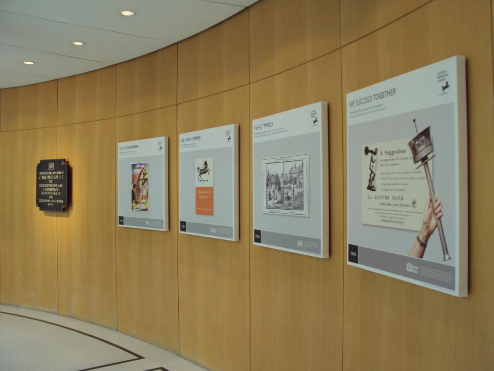 A series of heritage panels conveying the Group's key values on display at a Lloyds Banking Group office. Image courtesy of Lloyds Banking Group Archives.