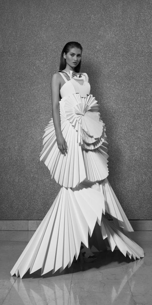Louise Goldin's paper dress. Image courtesy of Coutts & Co.