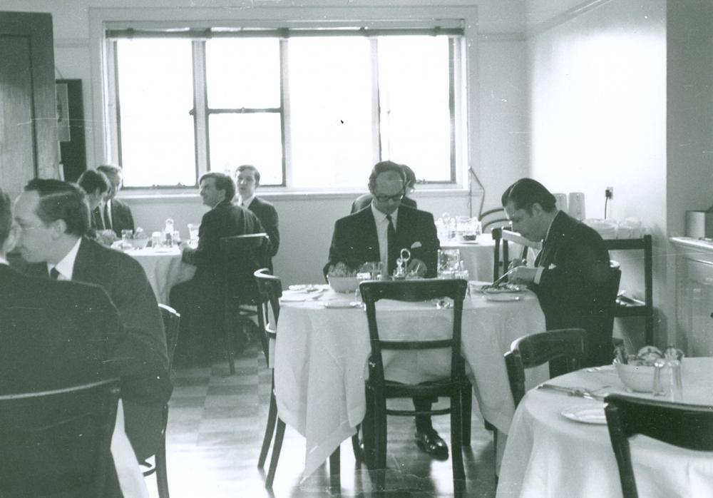 Barings' staff dining room, 1960s. Image courtesy of The Baring Archive.