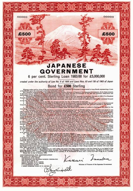 Specimen bearer bond for Japanese Government issue. Image courtesy of The Baring Archive.