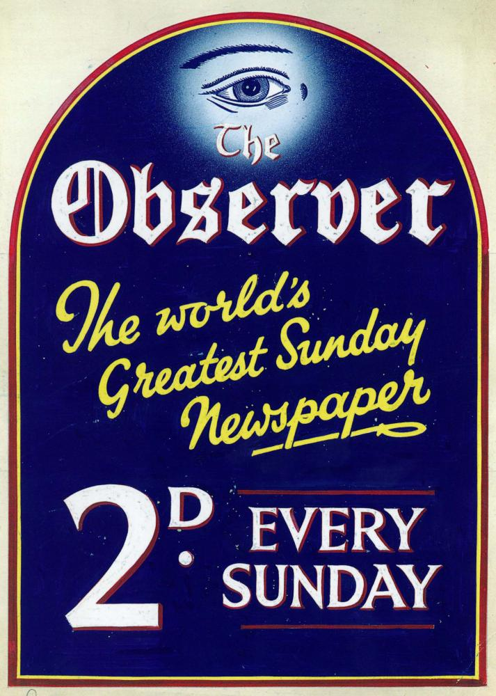 Observer advertisement, c1934. Image courtesy of Guardian News & Media Archive.
