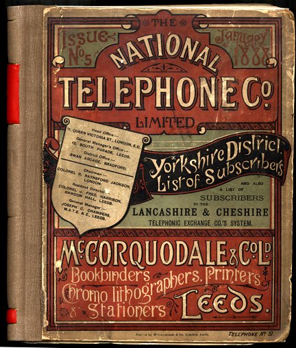 National Telephone Company phone directory for Yorkshire. Image courtesy of BT Heritage.